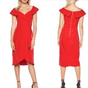 BARDOT Red Bella Tulip Hem Dress Size 6 Small